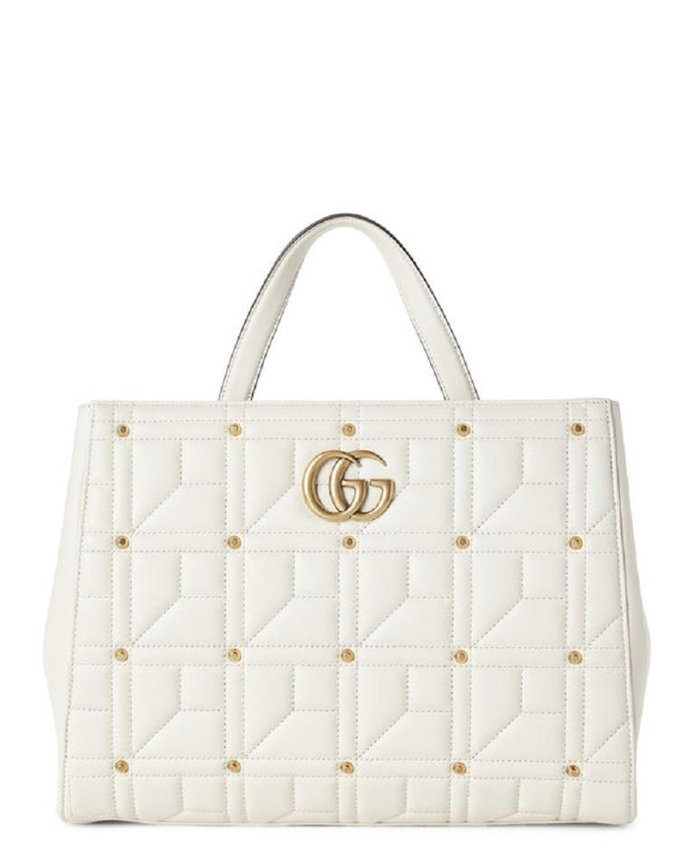ecdffe4b528fa6 Gucci Top Handle Bag Marmont Studded Matelassé Gg Medium White ...