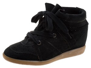 Isabel Marant Perforated Suede Leather Black Wedges