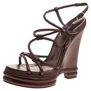 Dolce&Gabbana Leather Strappy Wedge Metallic Sandals
