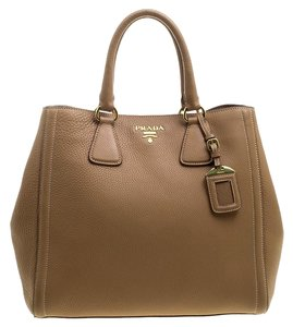 Prada Leather Nylon Vitello Tote in Brown