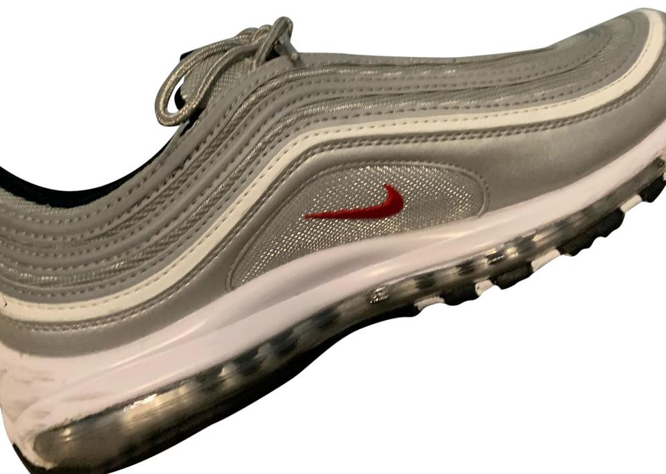 4867ee072b ... white silver size; nike silver black red air max 97 bullet sneakers.  size us 10