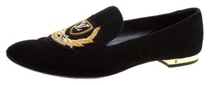 Louis Vuitton Embroidered Suede Black Flats