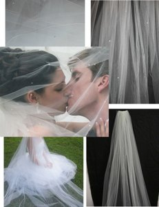 Scarlett Soft White Long Cathedral W/ Scattered Pearls ~ Perfect Condition Bridal Veil