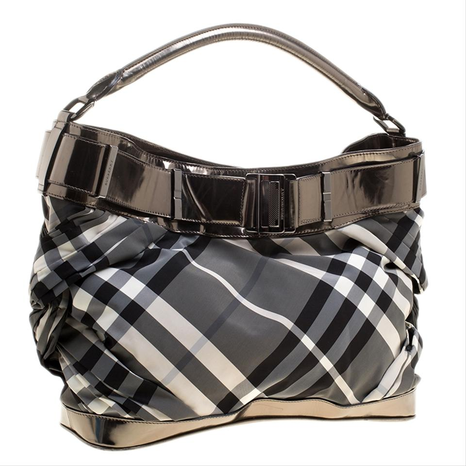221cd212525c Burberry Beat Check Nylon And Metallic Grey Leather Shoulder Bag ...
