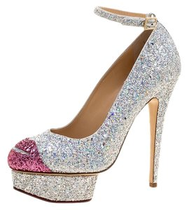 Charlotte Olympia Glitter Ankle Strap Platform Metallic Pumps