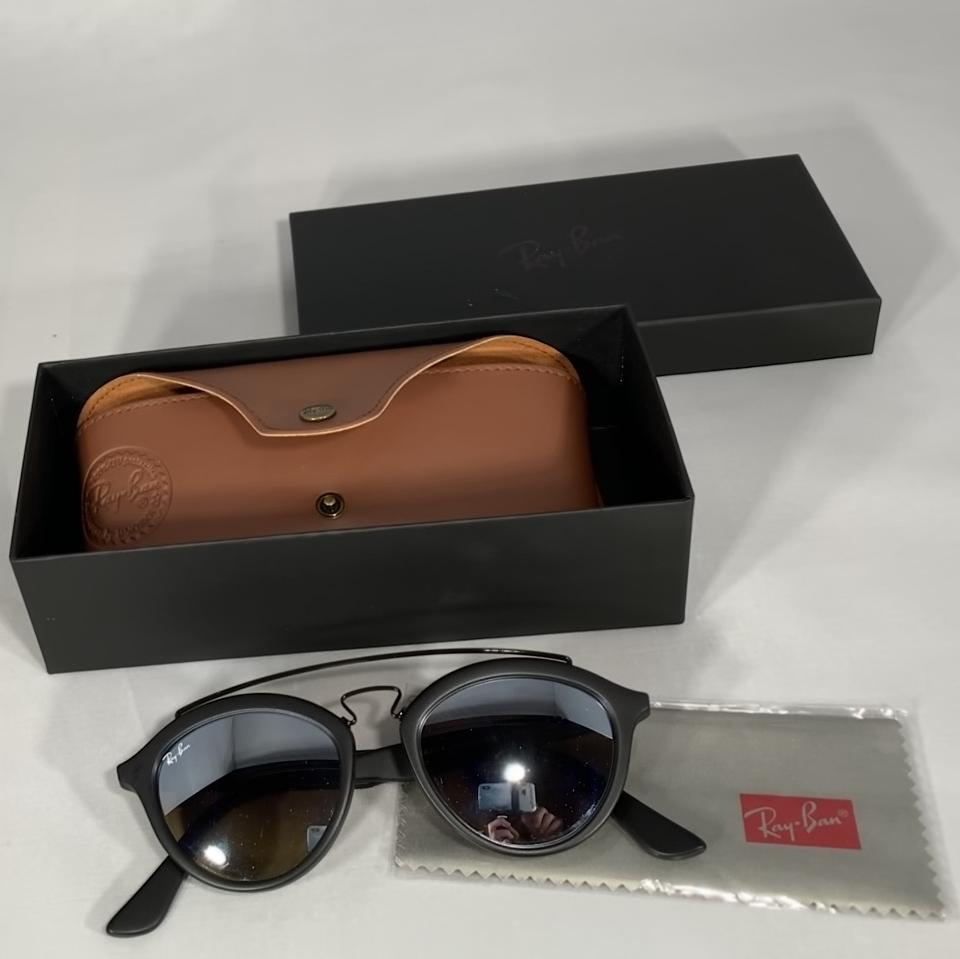 57fa7b0a39 Ray-Ban New Matte Black   Silver Phantos 50mm 0rb4257 Gatsby Ii Round  Aviator Sunglasses - Tradesy