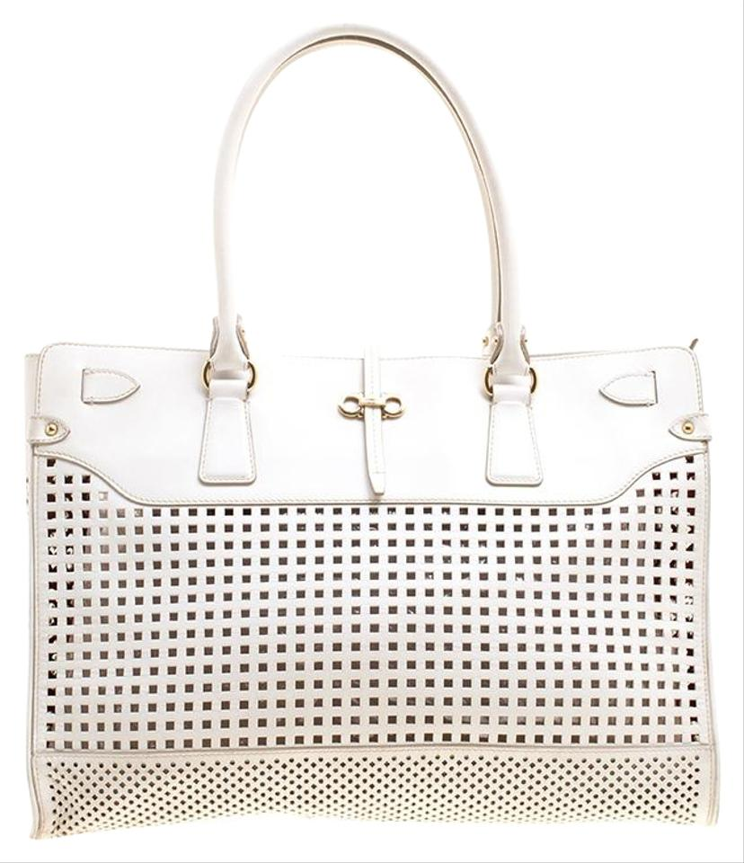aa9d963ab2c5 Salvatore Ferragamo Perforated Large Briana White Leather Tote - Tradesy