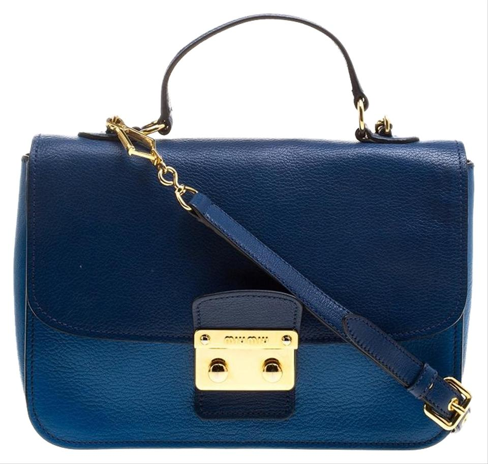 Miu Miu Madras Top Handle Blue Leather Cross Body Bag - Tradesy 5a66e6a519900