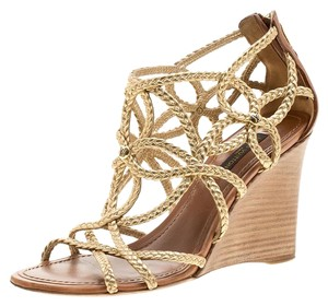 Louis Vuitton Leather Wedge Metallic Sandals