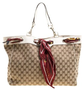Gucci Leather Canvas Tote in Beige