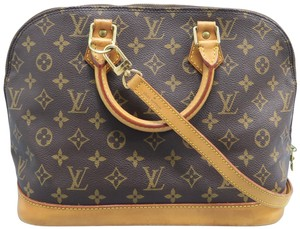 Louis Vuitton Lv Monogram Canvas Alma Satchel in Brown