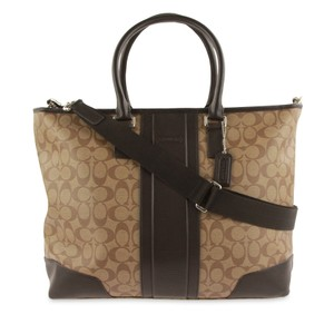 Coach Canvas Leather Tote in Brown