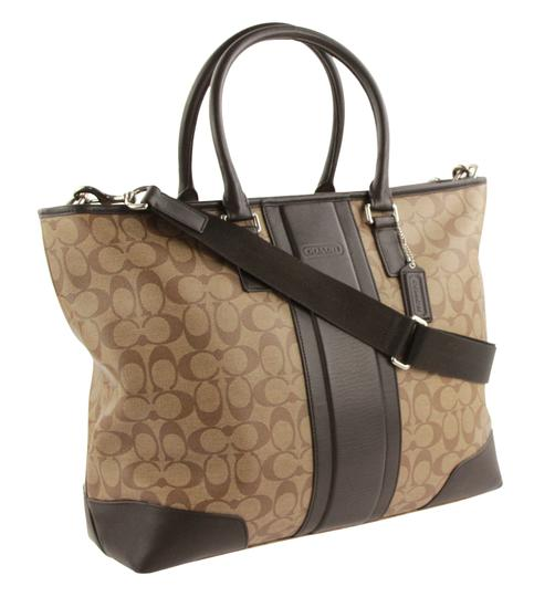 Coach Canvas Leather Tote in Brown Image 1