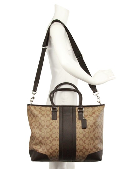 Coach Canvas Leather Tote in Brown Image 11