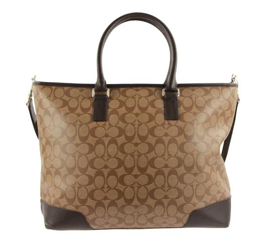 Coach Canvas Leather Tote in Brown Image 2