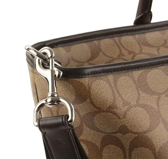 Coach Canvas Leather Tote in Brown Image 8