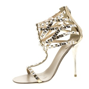 59d59fae5fd Giuseppe Zanotti Leather Embellished Metallic Sandals