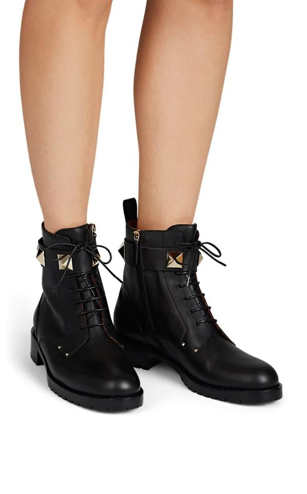 e75b12158cf Valentino Black Lock Leather Combat Ankle Boots/Booties Size US 7 Regular  (M, B) 39% off retail