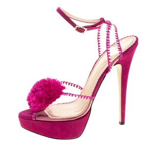 Charlotte Olympia Pvc Suede Fabric Pink Sandals