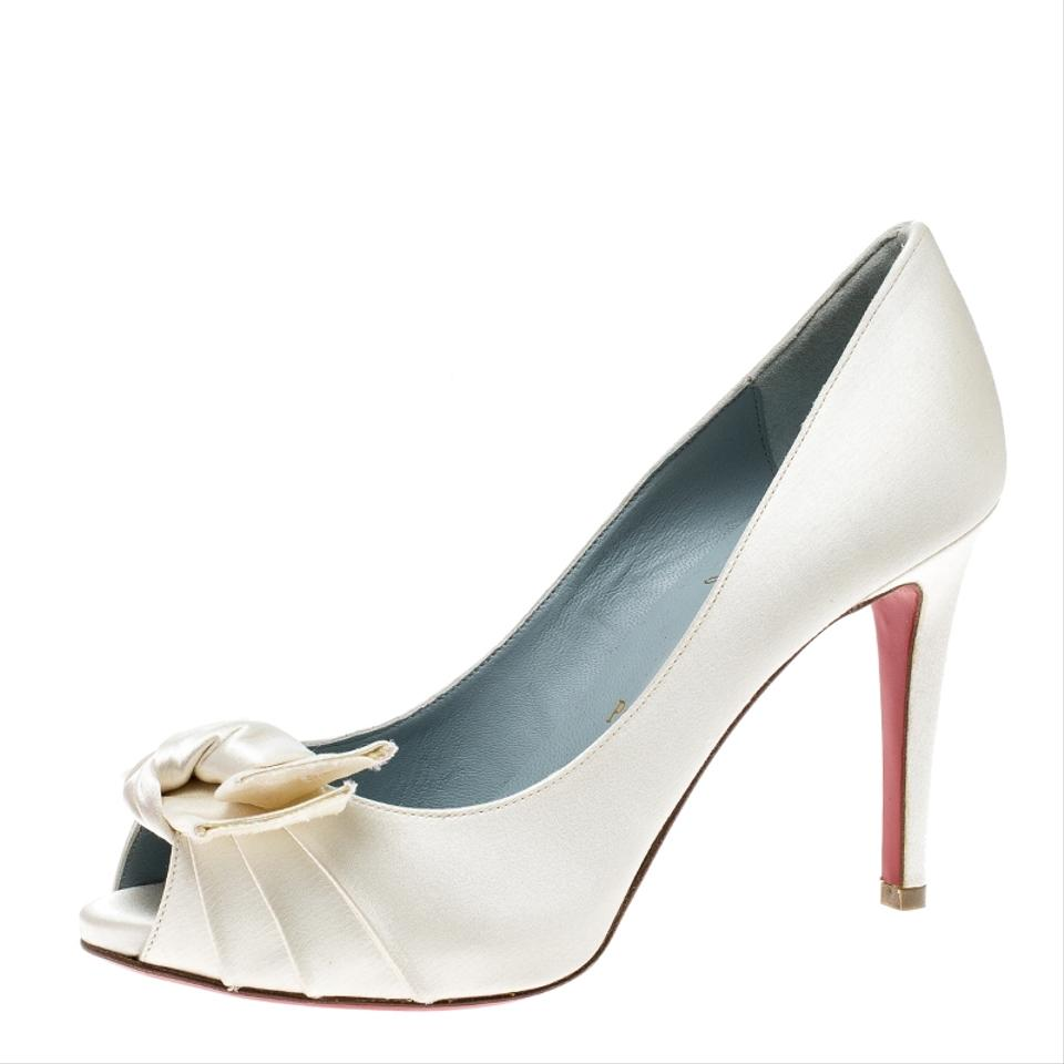 Christian Louboutin Cream Satin Madame Butterfly Pumps Size EU 36.5 ... e3e9ed6aed82