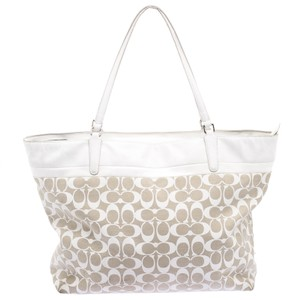 Coach Leather Canvas Tote in Beige
