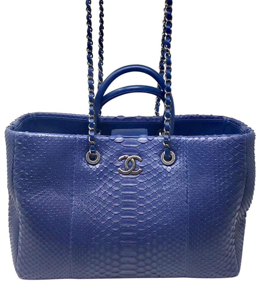 53147d7f61ba Chanel Shopping Large Blue Python Skin Leather Tote - Tradesy