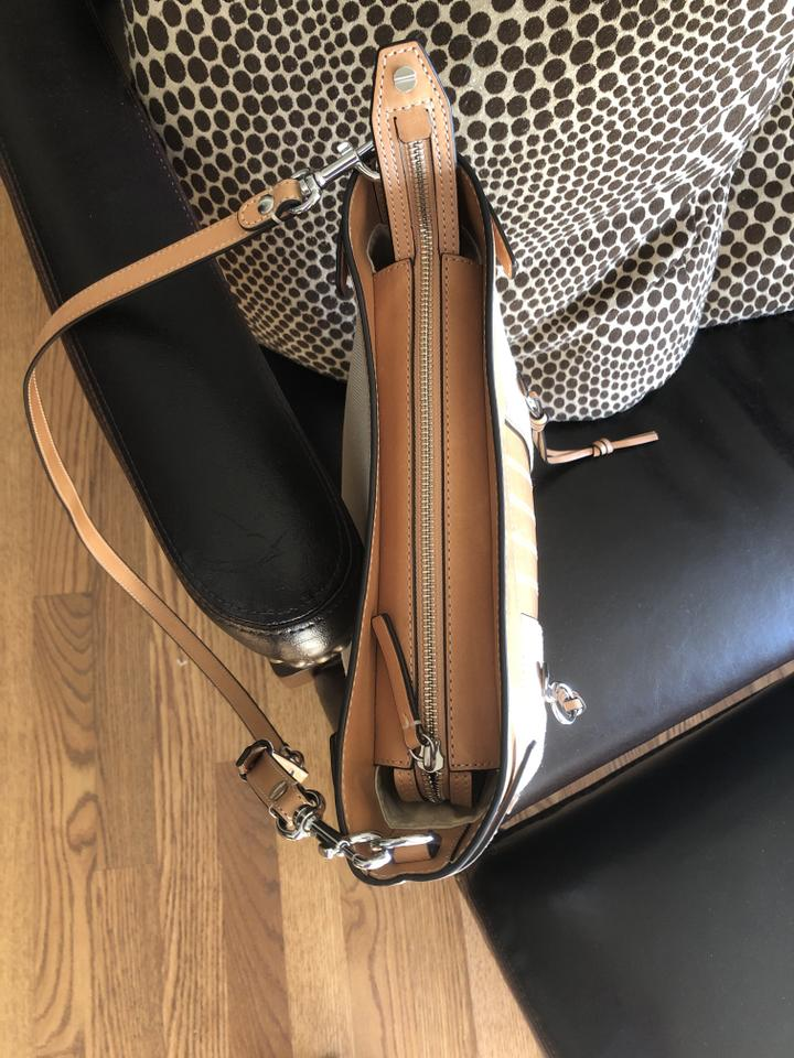 1d72d8553af Tory Burch Moto Tall Swingback Natural Canvas Leather Cross Body Bag ...