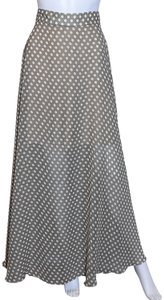 Lisa Nieves Polka Dot Long Chiffon Maxi Skirt Sand color white