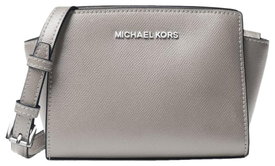 7270f70a8ebf Michael Kors Selma Mini Saffiano 32h3glmc1l Gray Leather Cross Body ...
