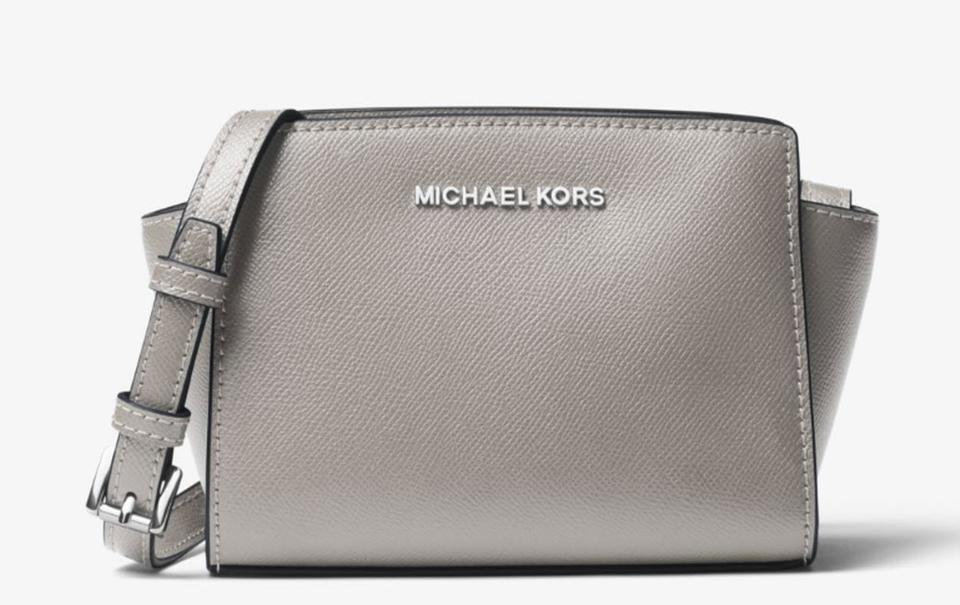 e75046bd21c14 Michael Kors Selma Mini Saffiano 32h3glmc1l Gray Leather Cross Body ...