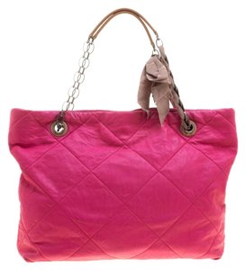 Lanvin Leather Quilted Tote in Pink