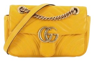 2bb6be2c5bb Gucci Marmont Mini Yellow Leather Cross Body Bag - Tradesy