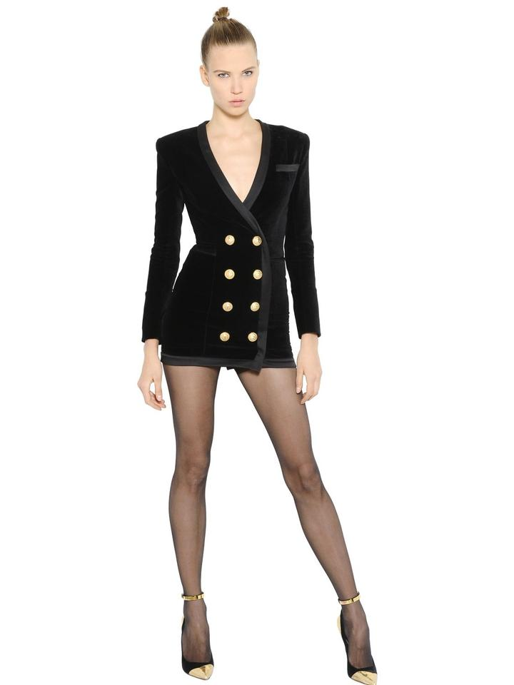 523a4a328a5a DIOR BELLA Black Parker Velvet Double Breasted Blazer Jacket Mini Cocktail  Dress