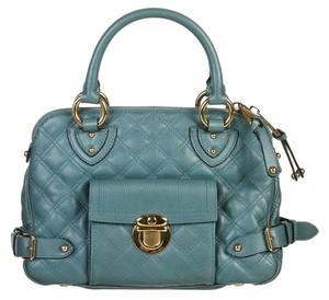 Marc Jacobs Quilted Elise Teal Satchel in Blue