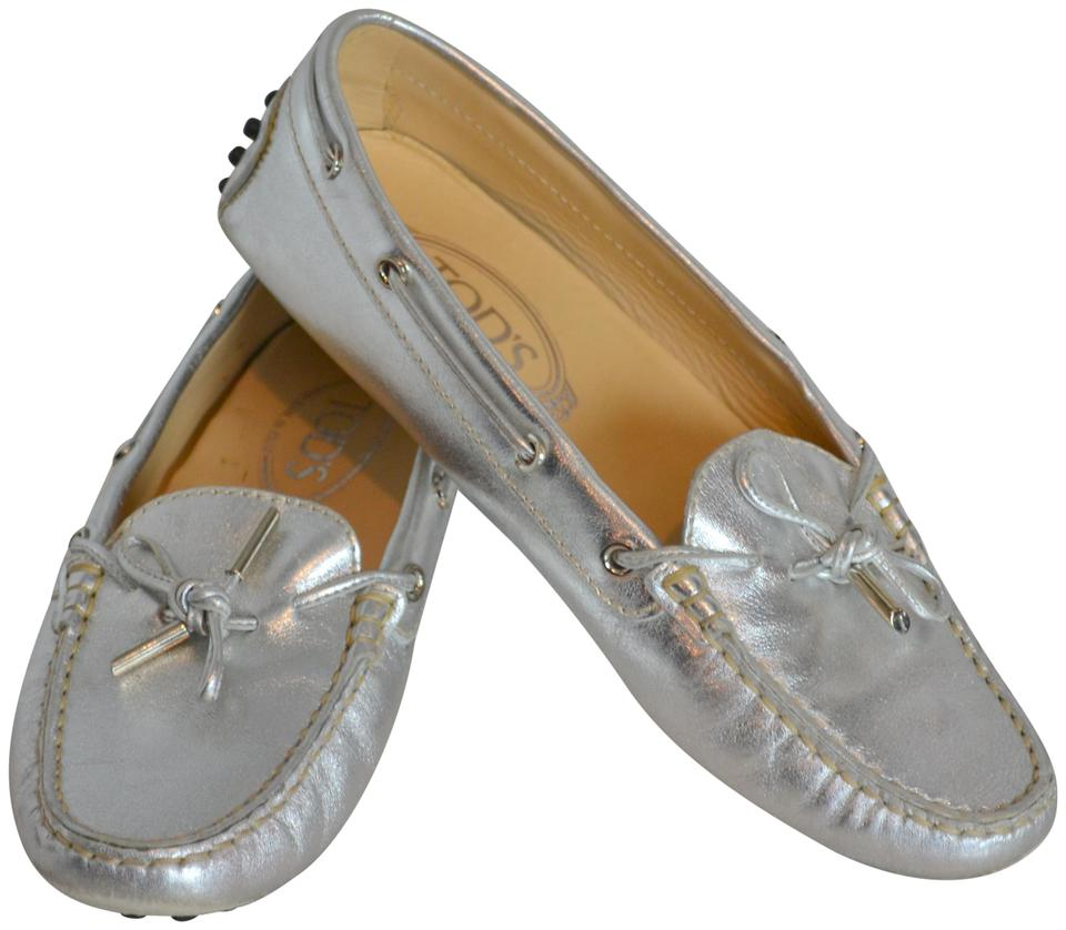 097e934e163 Tod s Loafers Drivers Moccasins Nubbies Leather Silver Metallic Flats Image  0 ...