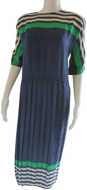 Item - Navy Blue White Green Silk and Stripes Pleated Long Casual Maxi Dress Size 12 (L)