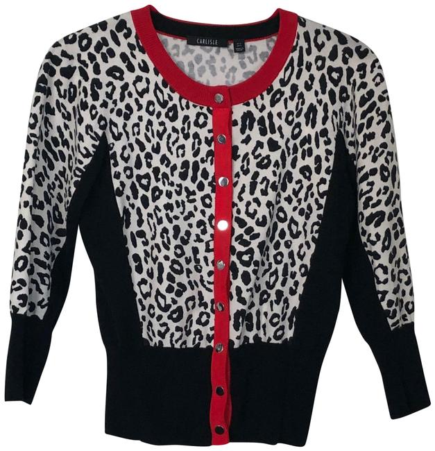 Item - Animal Print Snap Front Cardigan Black White and Red Sweater