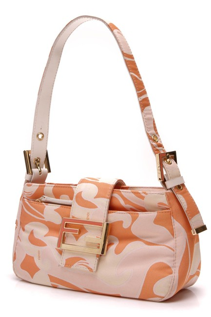 Item - Shoulder Bag Mini Printed Orange Canvas Baguette