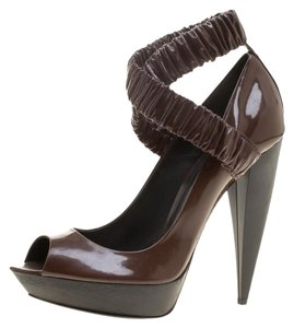 b17a1c7eaaee Burberry Patent Leather Crisscross Strap Peep Toe Brown Pumps