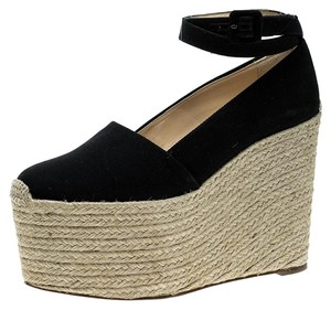 Christian Louboutin Canvas Espadrille Platform Black Pumps