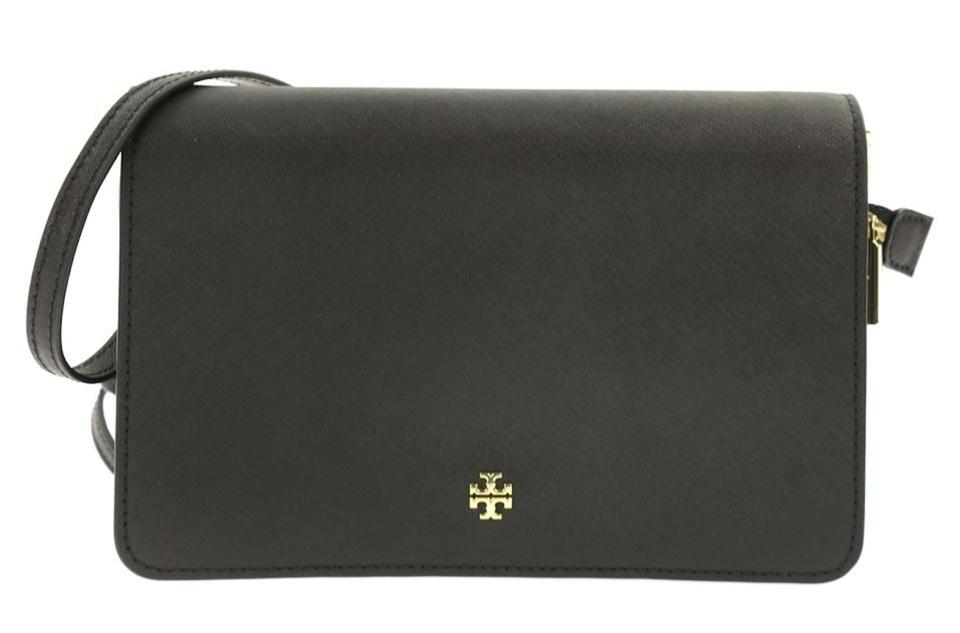 fbcb829c69a Tory Burch Emerson Combo Black Saffiano Leather Cross Body Bag - Tradesy