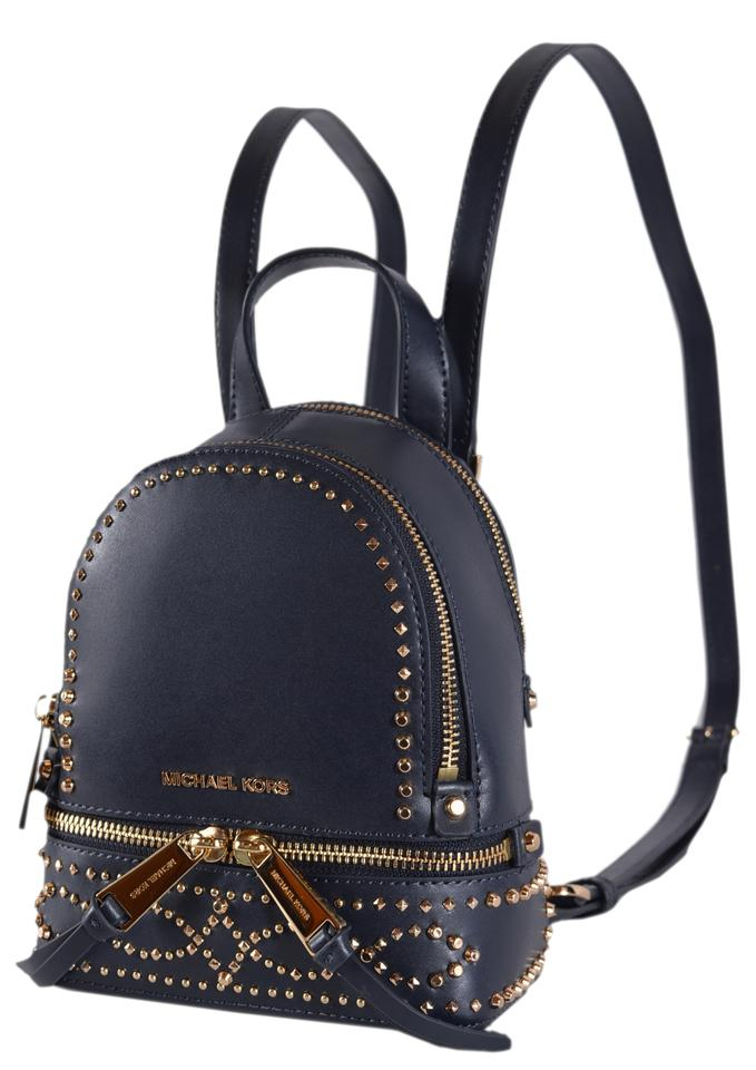 af8bcc2dac952d MICHAEL Michael Kors XS New Embellished Rhea Mini Blue Leather Backpack