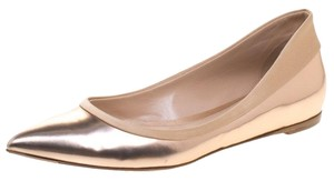 Gianvito Rossi Leather Pointed Toe Ballet Gold Flats