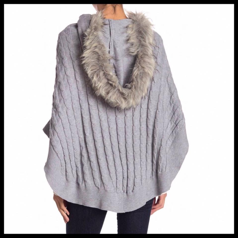 3e1748b36 14th   Union Grey Luxe Hooded Faux Fur Blanket Coat Poncho Cape Size ...