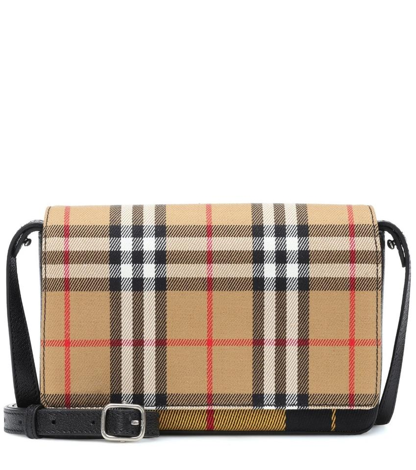 Burberry Hampshire Tartan Mix Vintage Brown Leather Cross Body Bag ... d785136bded84