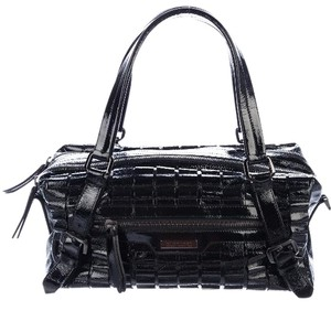 Burberry Patent Leather Ruffle Textured Metallic Hardware Shoulder Strap Satchel in Black Gunmetal