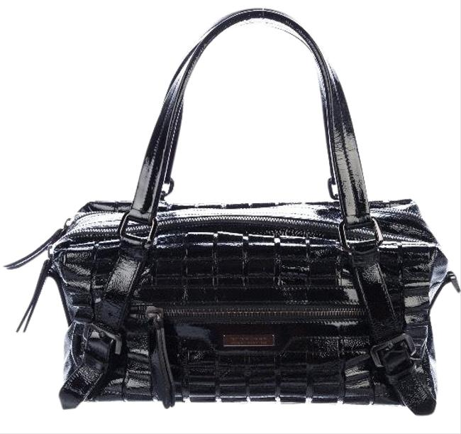 Burberry Lowry Ruffled Black Gunmetal Patent Leather Satchel Burberry Lowry Ruffled Black Gunmetal Patent Leather Satchel Image 1
