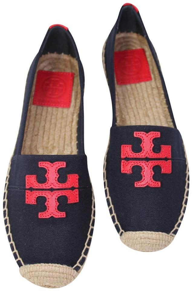 c83401c52f9 Tory Burch Navy Blue Red Nautical New Espadrilles Logo Box Flats ...