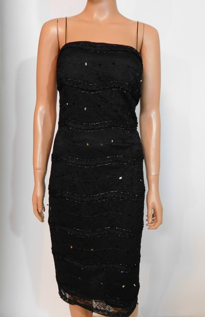 JS Collections Black New Embellished Sequin Lace Short Cocktail Dress Size 4 (S) JS Collections Black New Embellished Sequin Lace Short Cocktail Dress Size 4 (S) Image 3