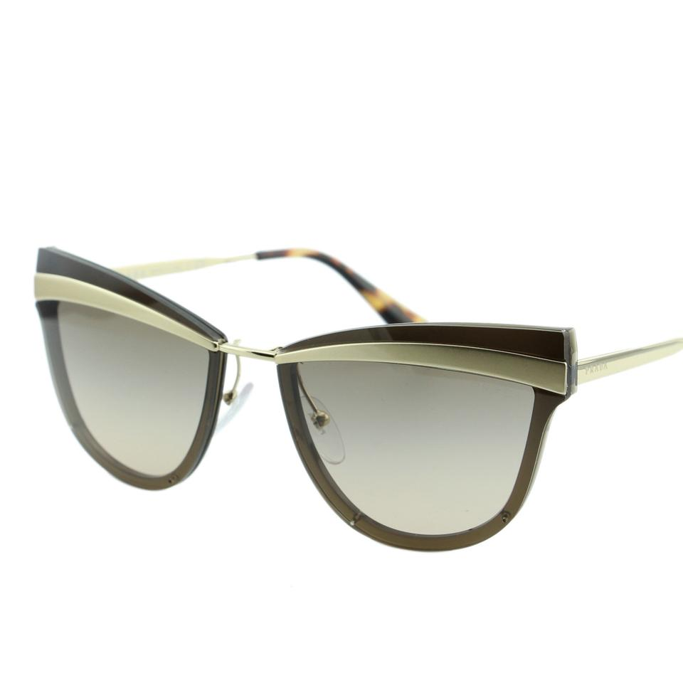 f38cc13275e Prada New Spr12us Kjm3d0 Women Pale Sand Gold Cat Eye 65mm Sunglasses Image  0 ...